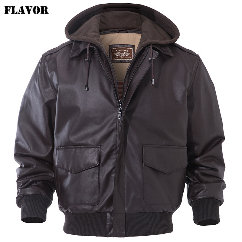 FLAVOR Men's Real Leather Bomber Jacket Men Lambskin Genuine Leather Jacket Pilot Air Force Removable Hood Warm Aviator Coat