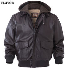 FLAVOR Men's Real Leather Bomber Jacket Men Lambskin Genuine Leather Jacket Pilot Air Force Removable Hood Warm Aviator Coat(China)