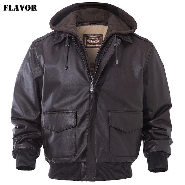 FLAVOR Mens Real Leather Bomber Jacket Men Lambskin Genuine Leather Jacket Pilot Air Force Removable Hood Warm Aviator Coat