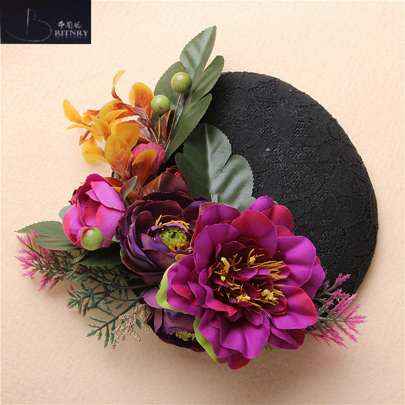 Vintage Wedding Accessories Flowers Black Lace Bridal Hat Party Accessory