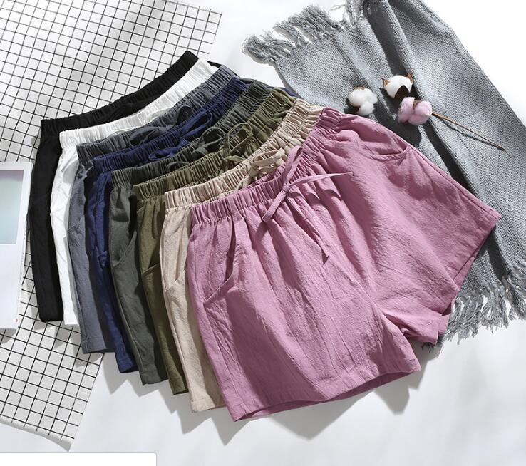 Carol Diaries 2019 New Style Fashion Women Shorts Summer High Waist Cotton Linen Loose Size Shorts Women Casual Biker Shorts