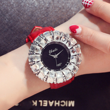 Fashion Women's Watch Shining BlingBling Crystal Quartz Watches Women Leather Band Casual Ladies Wristwatches Relogio Feminino