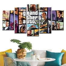 5 Panel GTA Game Canvas Printed posters Painting For Living Room Wall Art Decor HD Picture Artworks Modern Decorative Poster