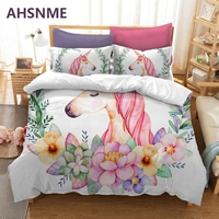 AHSNME Flowers and Unicorns Bedding Set Rhinoceros unicornis Children super girls love gift Quilt Cover King Queen Home Textiles