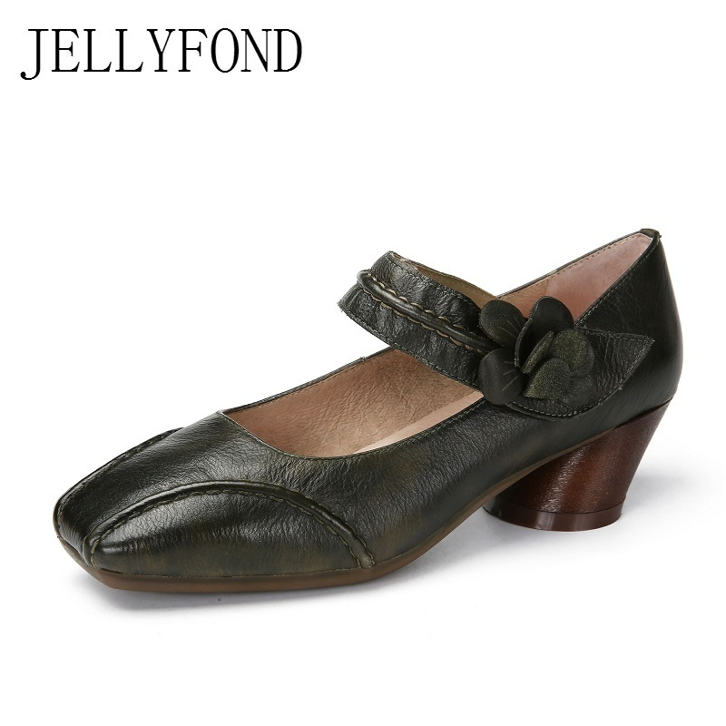 JELLYFOND Brand Square Toe Handmade Genuine Leather Platform High Heels Shoes Women Vintage Flower Mary Janes Pumps Big Size sorbern mary janes round toe platform 4 high heels women pumps square chunky heeled ladies shoes size 42 gothic shoes large