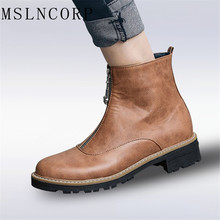 Plus Size 34-43 European Style Zip Motorcycle Boots Women Low Heels Short Boots Handmade High Quality Flats Woman Ankle Boots lsewilly women boots bohemia chinese nation style women fringe increasing heels bead short boots woman tassel ankle boots a002