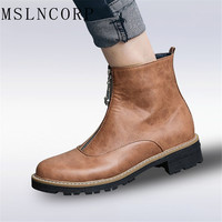 Plus Size 34 43 European Style Zip Motorcycle Boots Women Low Heels Short Boots Handmade High Quality Flats Woman Ankle Boots