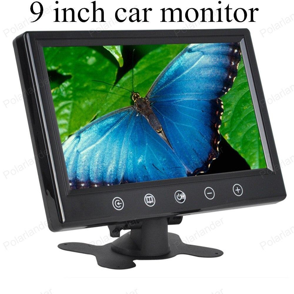 Auto monitora 9 cal kolorowy wyświetlacz TFT LCD z 2 wejścia wideo z wbudowanym wyświetlaczem LCD samochód mały wyświetlacz monitora dla cofania parking aparat kopii zapasowej