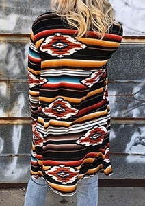 Image 2 - Women Cardigan new fashion Long Sleeve Cardigan Geometric Printed match Cardigans Casual Long Cardigans Coats Jacket
