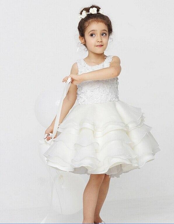 Wholesale!2019 Full Handmade Roses Sleeveless Tulle   Flower     Girl     Dress   Kids Pageant Gown For Wedding 3-10T