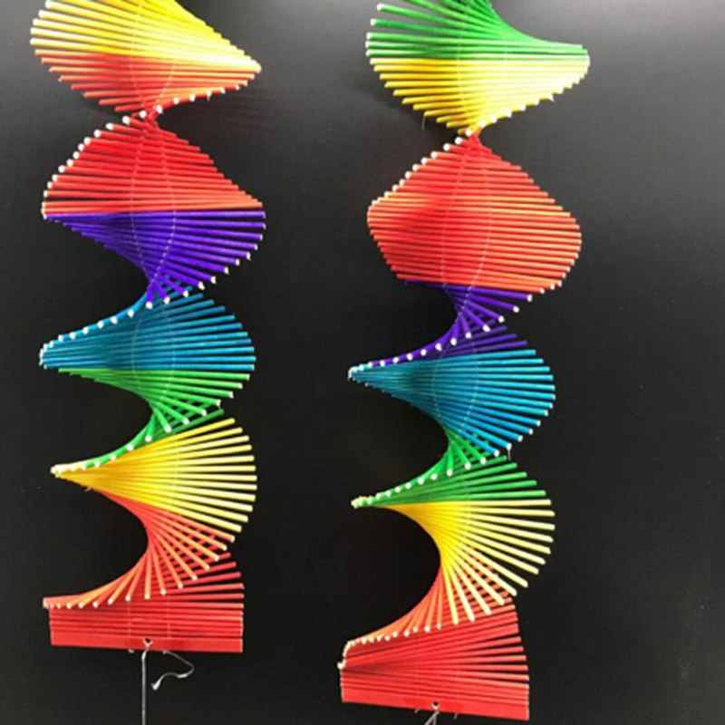 Rainbow Spiral Windmill Colorful Wind Chime Spinner Outdoor Hanging Pendant