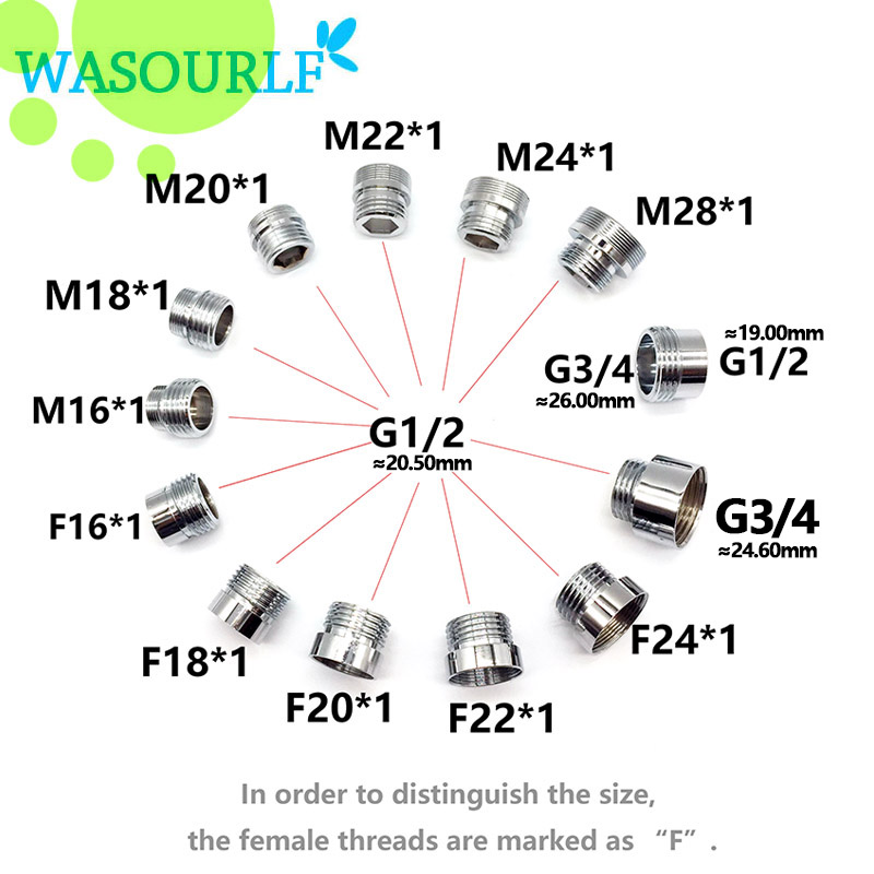WASOURLF 22 Mm Male External Thread Transfer G1/2 Inch Connector Outer Adapter Shower Bathroom Kitchen Brass Faucet Accessories