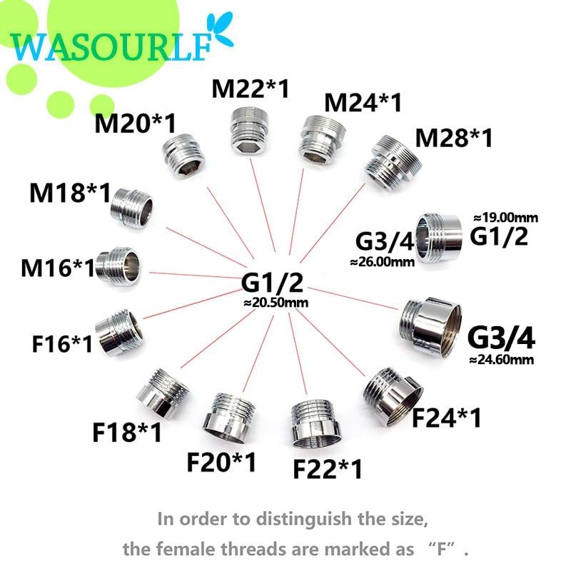 WASOURLF 22 Mm Male External Thread Transfer G1/2 Inch Connector Outer Adapter Shower Bathroom Kitchen Brass Faucet Accessories