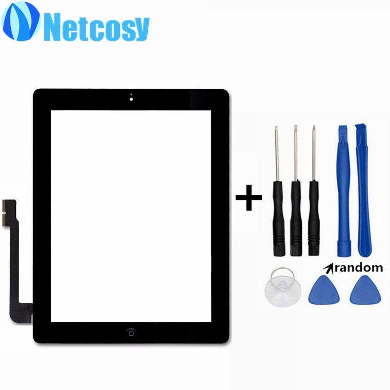 For ipad 4 Touchscreen Black White Touch Glass Screen Digitizer Home Button Assembly repair For ipad 4 touch panel & Tools touch touchpad touchscreen glass h3121a neoft52