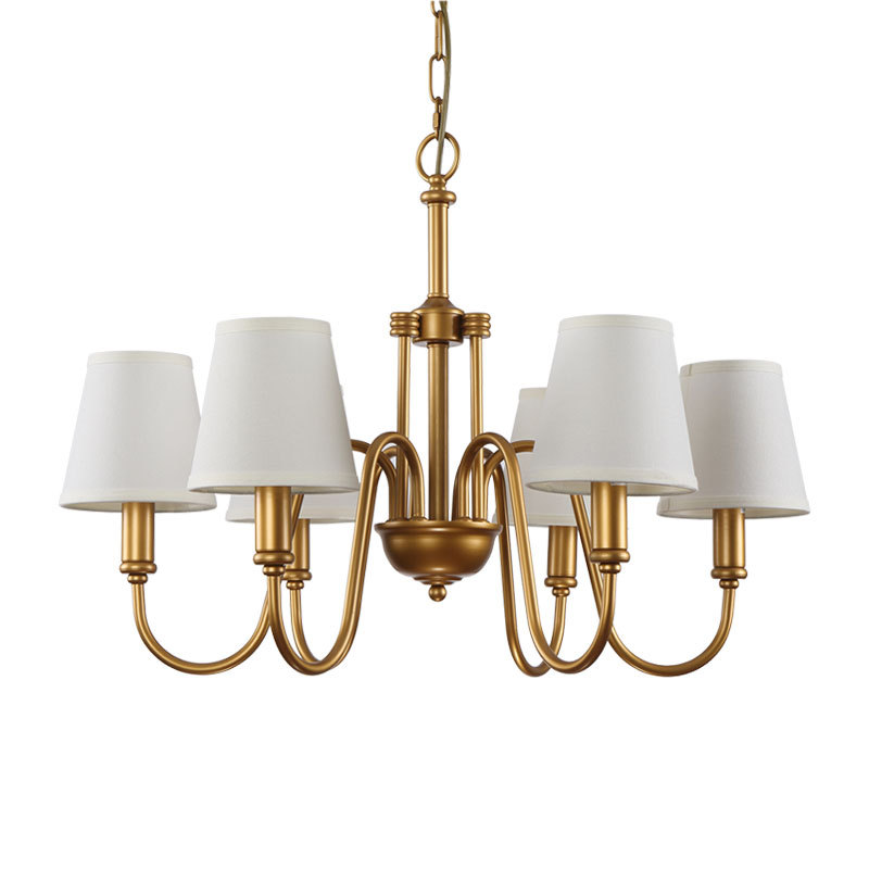 6 Arms America Chandelier Lamps Bronze Brass Plated Metal Chandeliers With White Cone Fabric Shade E14 Free Shipping In From Lights Lighting