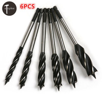 6PCS 10 20mm Four Slot Four Blade Sharp Drill Bit 6 35mm Hex Handle Auger Bits