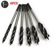 6PCS 10 20mm Four Slot Four Blade Sharp Drill Bit 6 35mm Hex Handle Auger Bits