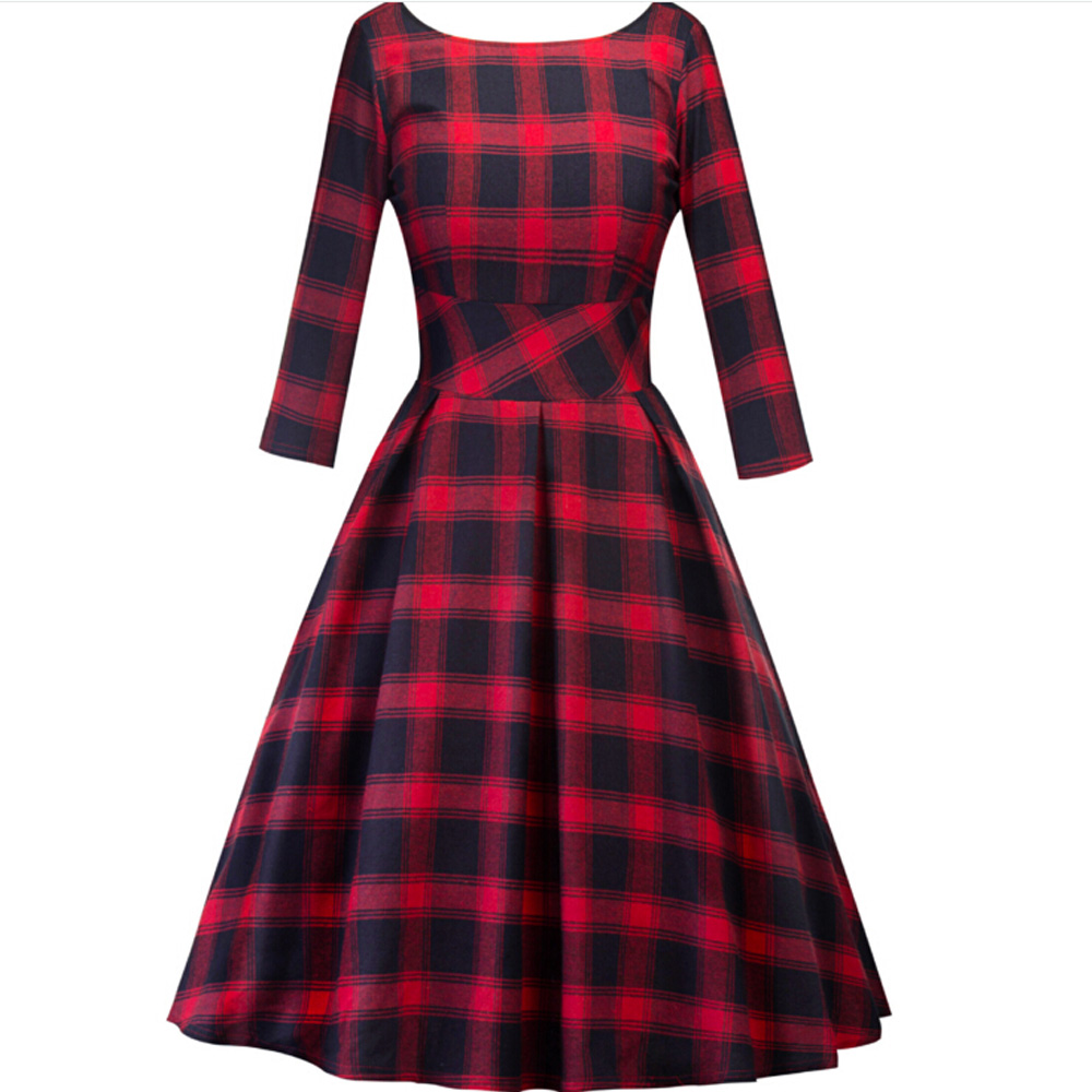 Vintage <font><b>Christmas</b></font> <font><b>Dress</b></font> Women 3/4 Sleeve Pleated A Line Retro 1950s Clothing Rockabilly Pinup <font><b>Sexy</b></font> Ladies <font><b>Red</b></font> plaid Summer <font><b>Dress</b></font> image