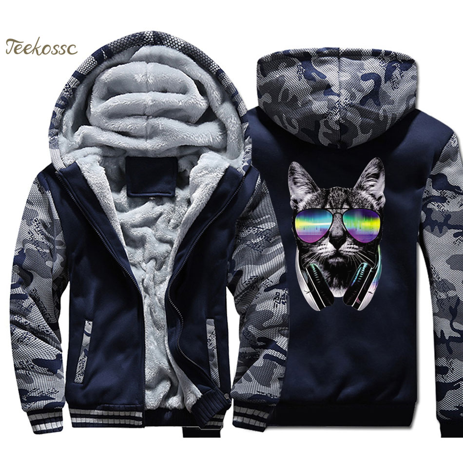 Music Cat Hoodie Men DJ Cool Punk Hooded Sweatshirt Coat 2018 Winter Warm Fleece Thick Zipper Print Jacket Hip Hop Streetwear