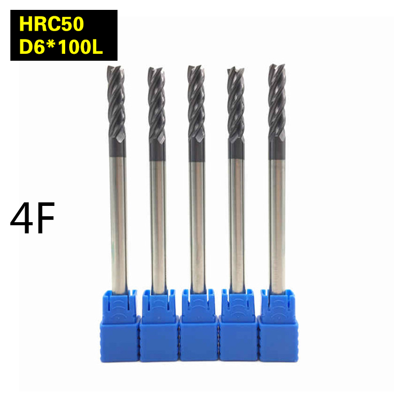 5PCS 4F-D6*100L HRC50  carbide lathe cutting tool cnc Flatted End Mill 4 flute mill diameter 6mm milling machine Milling Cutter er16 precision spring collet for cnc milling lathe tool 1 5 2 5 3 5 4 5 5 5 6 5 7 5 8 5 9 5 10 5 3 175 6 35 mm