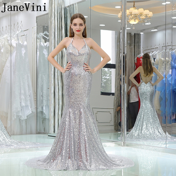 JaneVini Sexy Mermaid Silver Bridesmaid Dresses Sparkly Sequined Halter Backless Court Train Prom Party Gowns Bruidsmeisjes Jurk