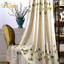 Green Dandelion Embroidered Modern Blackout Curtains For Bedroom Living Room Window Drapes Custom Made