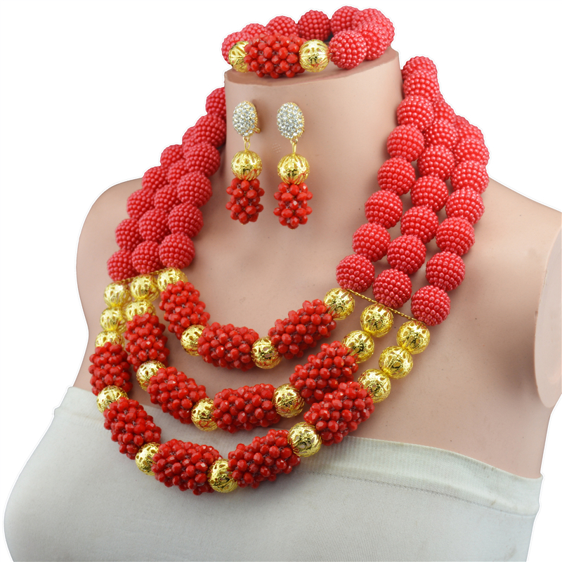 Fashion African beads jewelry set red crystal beads bride jewelry nigerian wedding african beads jewelry Set hot nigerian wedding beads jewelry set womens red ball crystal beads necklace african wedding beads bridal jewelry set 2018