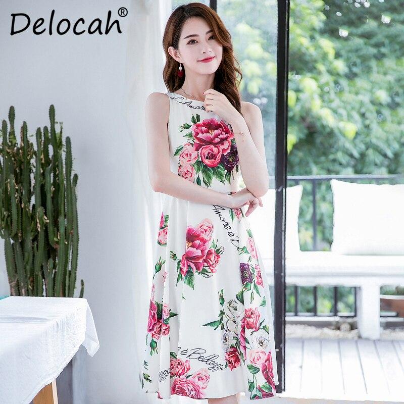 a51001fb16f65 Genou Robes Pivoine Manches Imprimer Robe Parti Sans Designer Multi Delocah  Floral Mode Fleur longueur Élégant Mince D été Femmes aqBA6w8