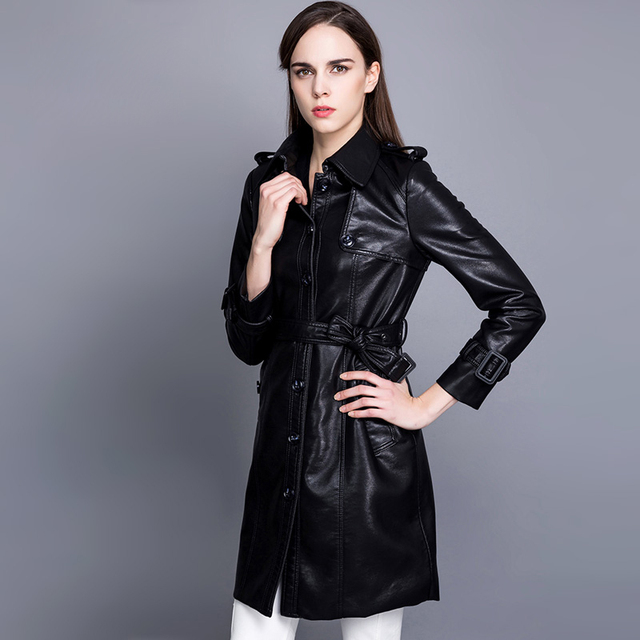 Fashion single breasted turn down collar medium-long PU leather trench coat women slim waist faux leather jacket with belt