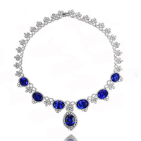 New Qi Xuan_Fashion Jewerly_Blue Stone Jewelry Sets Necklaces_S925 Solid Sliver Necklaces_Manufacturer Directly Sales