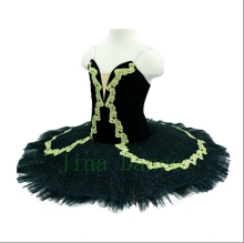 Classical Platter Tutu Costume Adults Black Gold Professional Paquita Peformance Ballerina Pancake for girls