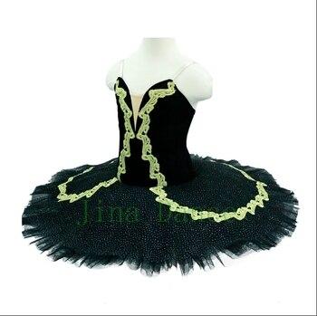 цена на Classical Platter Tutu Costume Adults Black Gold Professional Tutu Paquita Peformance Ballerina Pancake Tutu for girls