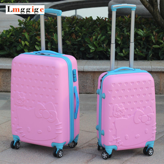 20/24inch Hello kitty Luggage,New Cartoon KT cat Suitcase,Women children Upgraded version wheel Trolley Travel Bag,Drag Lockbox