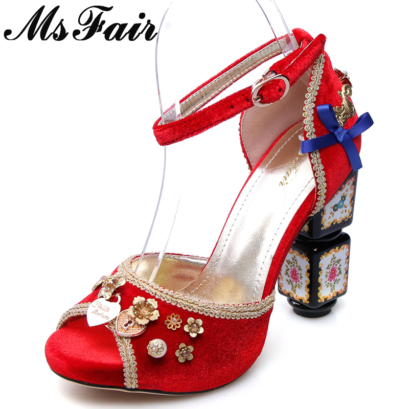 MsFair Flower Metal Decoration Sandals Shoes Woman Fashion Metal Buckle Peep Toe High Heels Sandals Women Brand Sandales Femme free shipping woman sandals concise black summer sandals little flower decoration on the back stiletto high heels buckle type