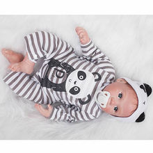 Lifelike Silicone Babies Doll 22 Inch Reborn Baby Dolls Magnetic Mouth Newborn Boy Toy With Panda Romper Kids Birthday Xmas Gift
