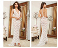 2016NWE ARRIVAL Sexy lingerie white backless Long Lace Gown And Panty