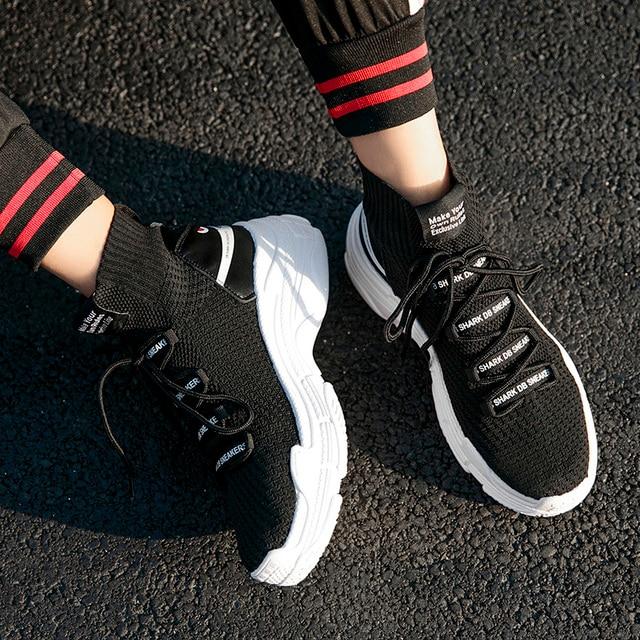 Shark Sneakers kobiety mężczyźni wysokie góry oddychające zimowe ciepłe buty na niskim obcasie platforma kobiety buty z futerkiem Unisex obuwie obuwie damskie