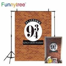 Funnytree foto fundo estúdio parede tijolos magia escola reis cruz estação crianças photocall natal aniversário pano de fundo