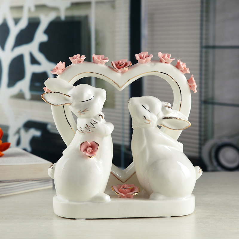 White Ceramic Heart Rabbit Home Decor Craft Room Decoration Bunnies Handicraft Ornament Porcelain Figurines Wedding Decorations