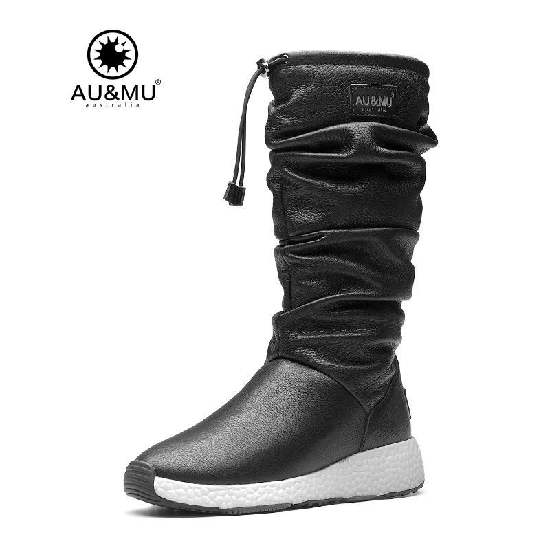 2017 AUMU Australia Women Fashion Waterproof Sheepskin Leather Fur Zppier Suede Mid Calf Winter Snow Boots UG NY733 2018 aumu australia brand new leather