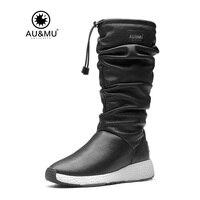 2017 AUMU Australia Women Fashion Waterproof Sheepskin Leather Fur Zppier Suede Mid Calf Winter Snow Boots UG NY733