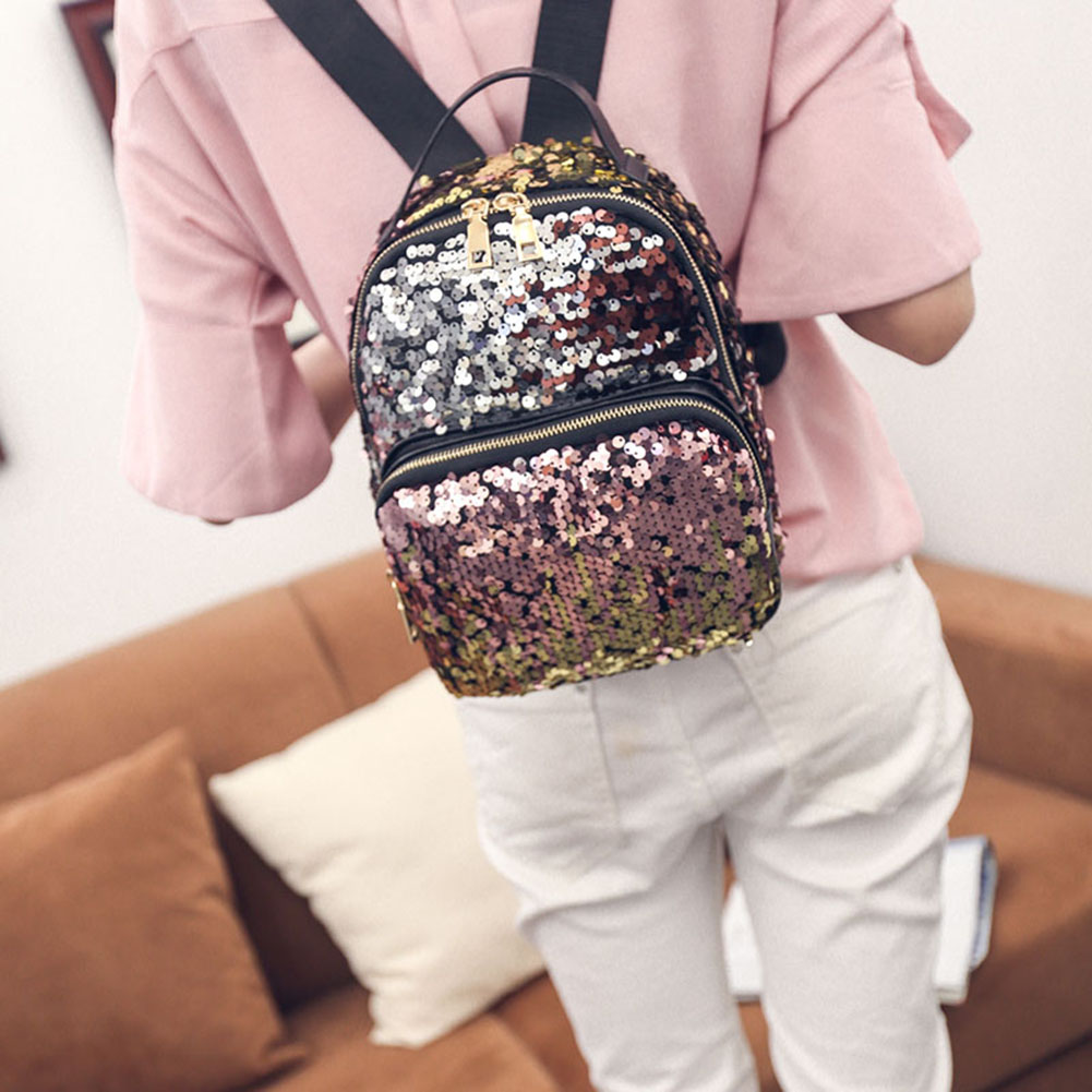 Women's PU Leather Sequins Backpack - Bling Backpack 3