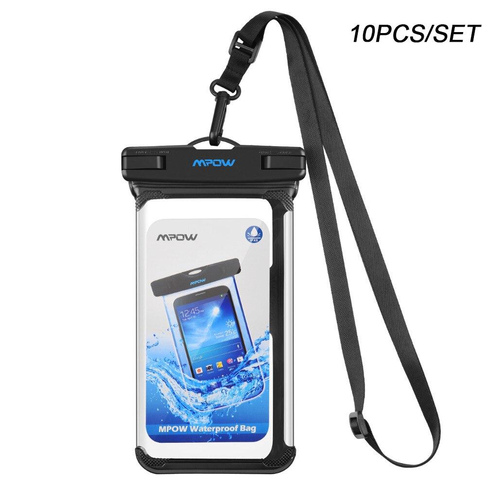 10 Pcs Mpow IPX8 Étanche Téléphone de Poche Sous-Marine De Natation Sacs Téléphone Cas PVC Cristal Clair Clé Sac Pour iPhone Samsung huawei