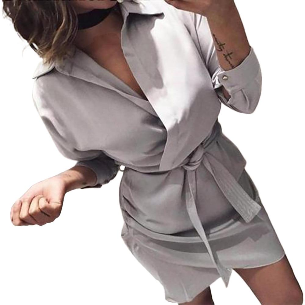 HTB1Al2AayYrK1Rjy0Fdq6ACvVXaI Shirt Fashion Summer Dress Women Autumn Dress Long Sleeve Turn-Down Collar T Shirt Dress 4 Colour Casual Mini Office Dress