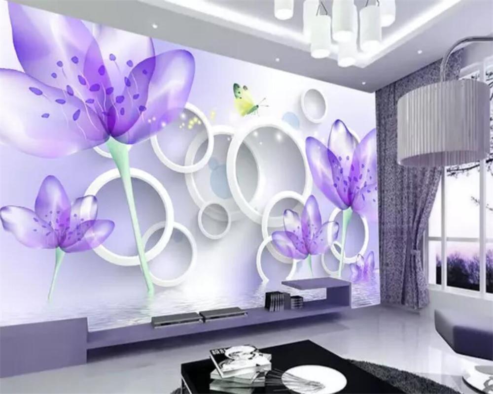 US $8 4 OFF Beibehang Wallpaper Kustom 3D Mewah Modern Lukisan Dinding Ruang Tamu Kamar Tidur Dinding Gambar Bunga 3D Papel De Parede Mural Modern