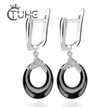 Lovely Black White Water Drop Cute Earring For Women Lady Bling Rhinestone Ceramic Circle Earrings Stainless Steel Jewelry Femme