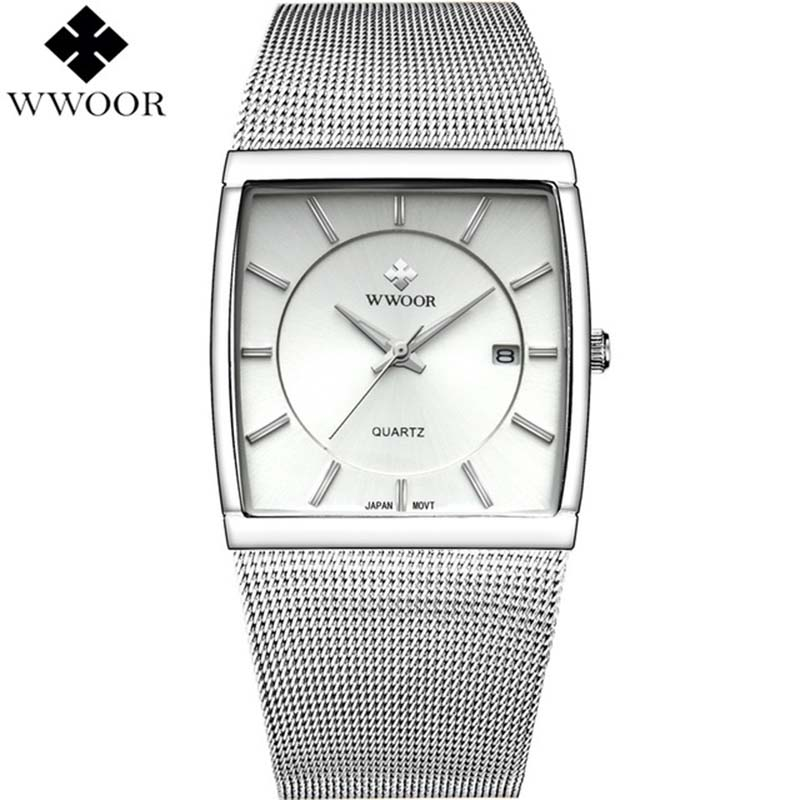 WWOOR 2019 Mens Watches Top Brand Luxury Silver Watch Men Square Watches Stainless Steel Business Watch For Men erkek kol saati