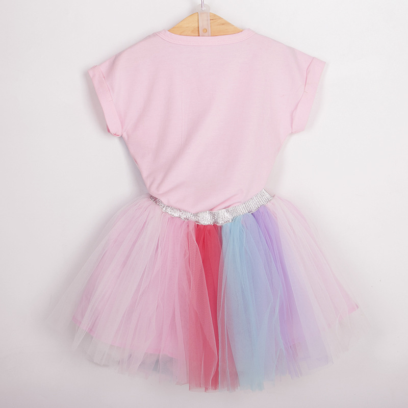 Dhl Ems Free Shipping 2018 New Hot Uniorn Pink T Shirt Color Yarn Skirt Baby Summer Wear Short Sleeved Suit Children In Clothing Sets From Mother Kids