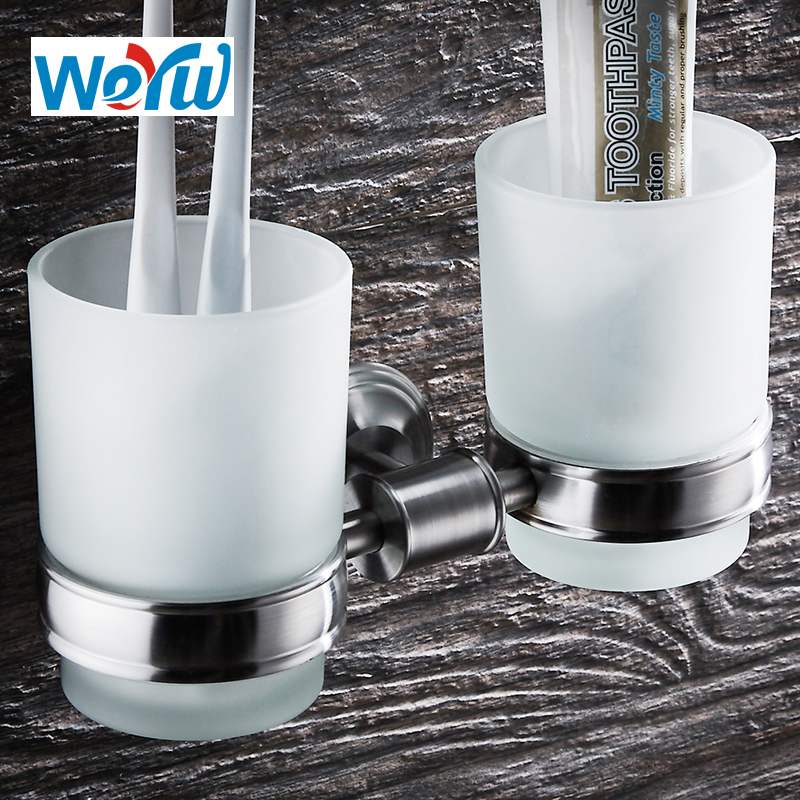 WEYUU Free Shipping Bathroom Accessories Toothbrush Cup Holders Double 304Stainless Steel Toothpaste Glass Cup Brushed Nickel frap bathroom accessories wall mounted silver single cup tumbler holder toothbrush toothpaste glass cup holders f3706