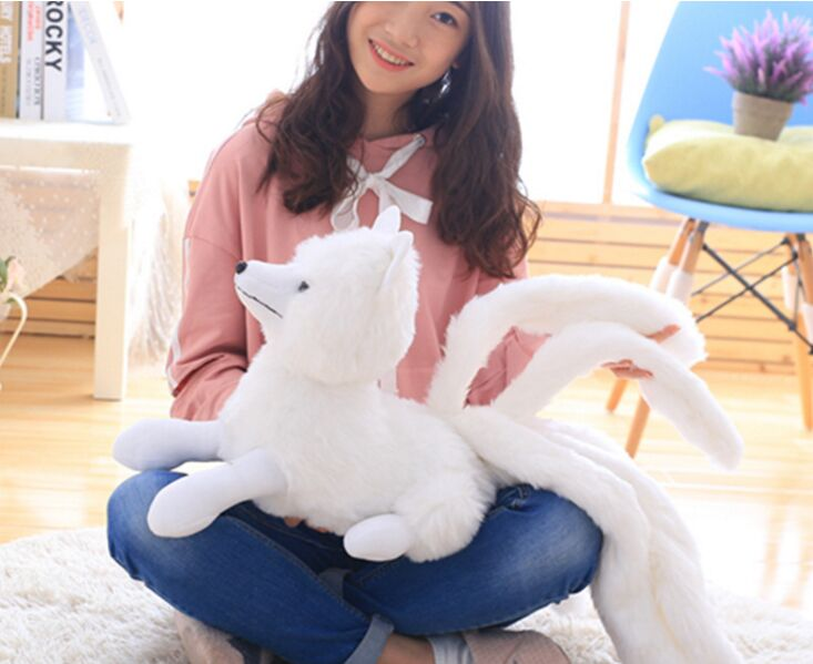 big lovely plush white fox toy stuffed nine-tail fox doll gift about 63x32cm stuffed animal 44 cm plush standing cow toy simulation dairy cattle doll great gift w501